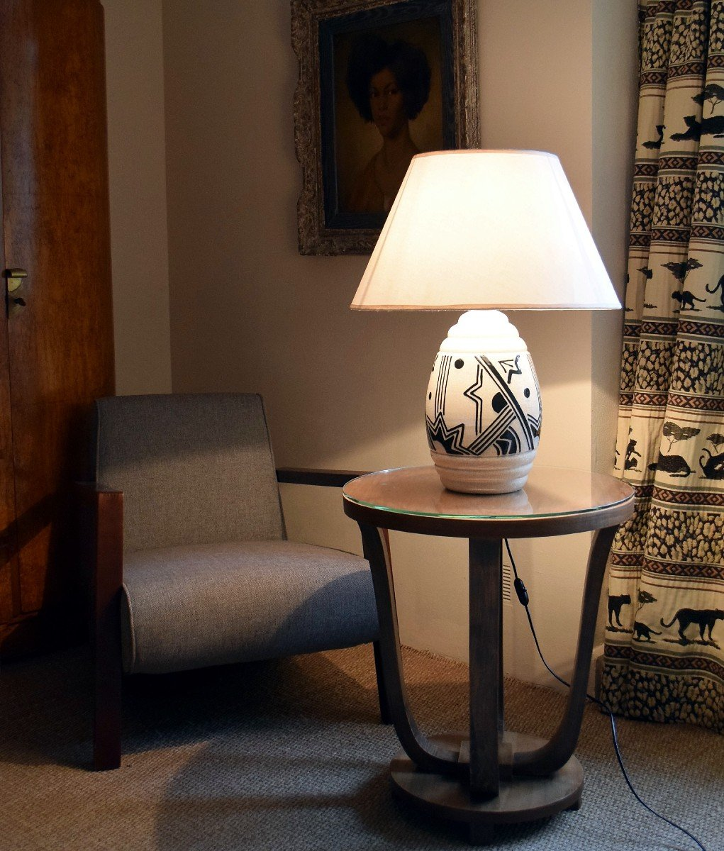 Large Africanist Art Deco Lamp In Cracked Earthenware-photo-4