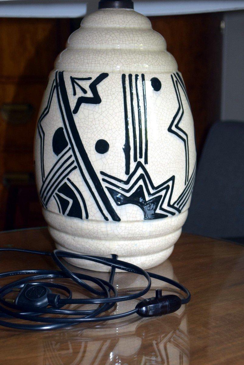 Grande lampe art déco africaniste en faïence craquelée-photo-1