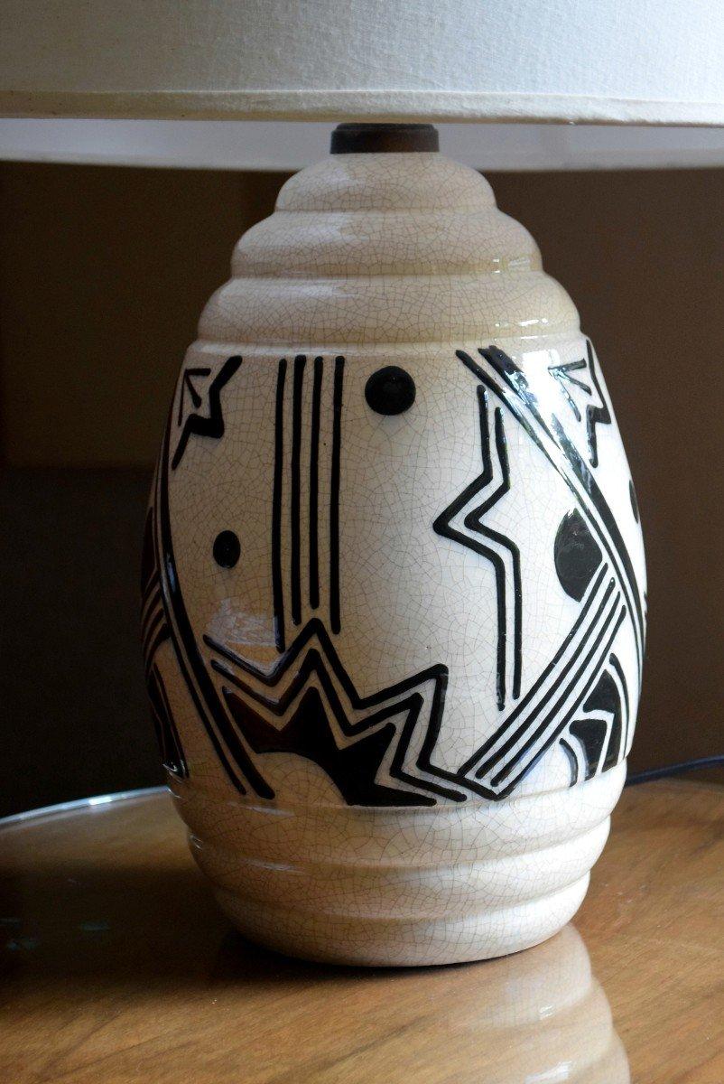 Grande lampe art déco africaniste en faïence craquelée-photo-4