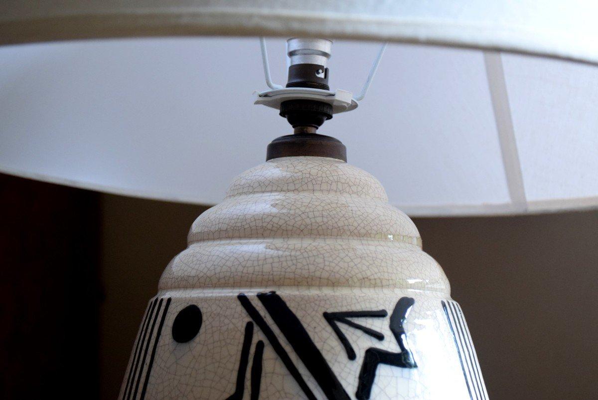 Grande lampe art déco africaniste en faïence craquelée-photo-5