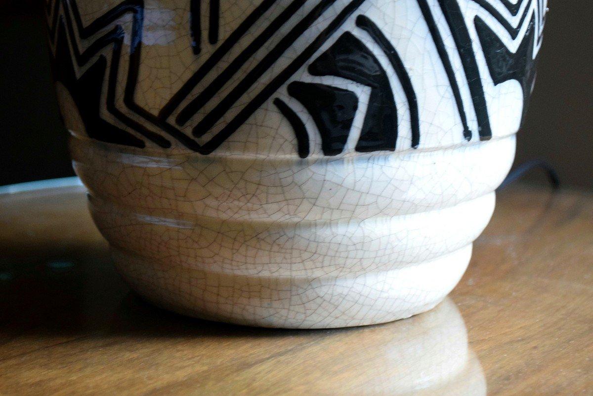 Grande lampe art déco africaniste en faïence craquelée-photo-6