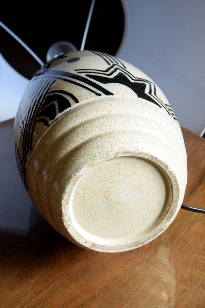 Grande lampe art déco africaniste en faïence craquelée-photo-7