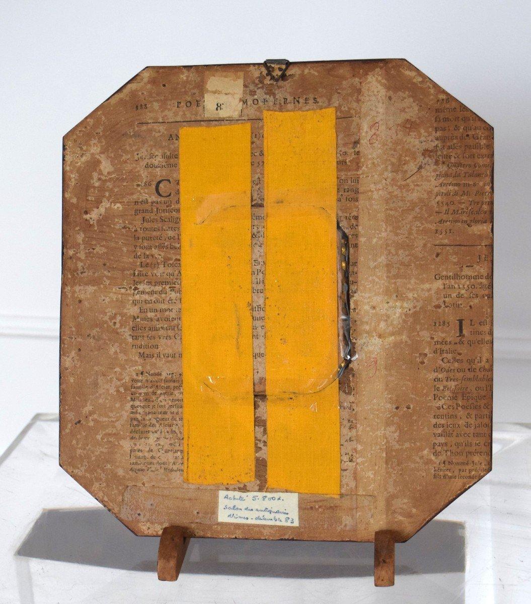 Miniature sur ivoire Cadre marqueterie d'ivoire et loupe de thuya-photo-4