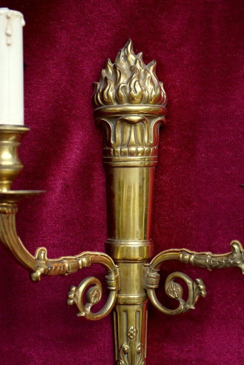 Paire d'appliques en bronze de style Empire XIXème-photo-3