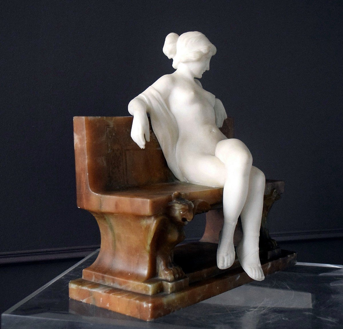 Nymph By Ferdinando Vichi Carrara Marble And Alabaster Italy-photo-4