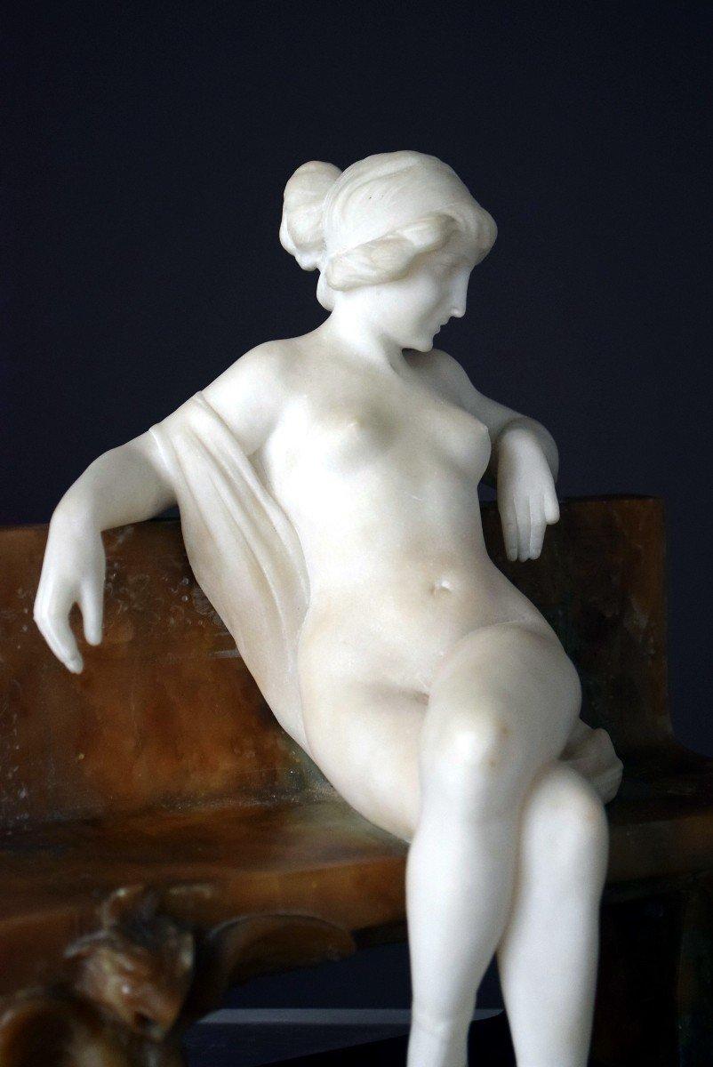 Nymph By Ferdinando Vichi Carrara Marble And Alabaster Italy-photo-1