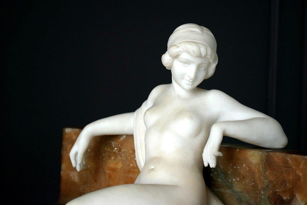 Nymph By Ferdinando Vichi Carrara Marble And Alabaster Italy-photo-2
