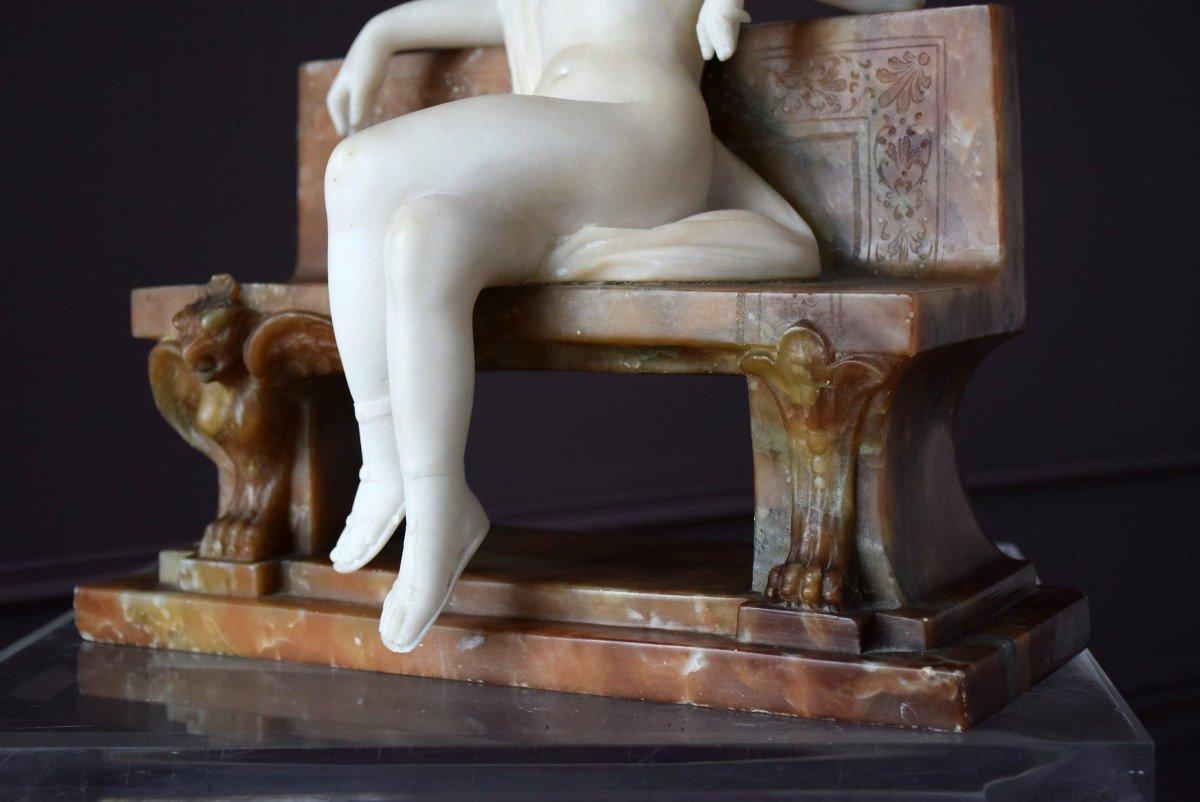 Nymph By Ferdinando Vichi Carrara Marble And Alabaster Italy-photo-5