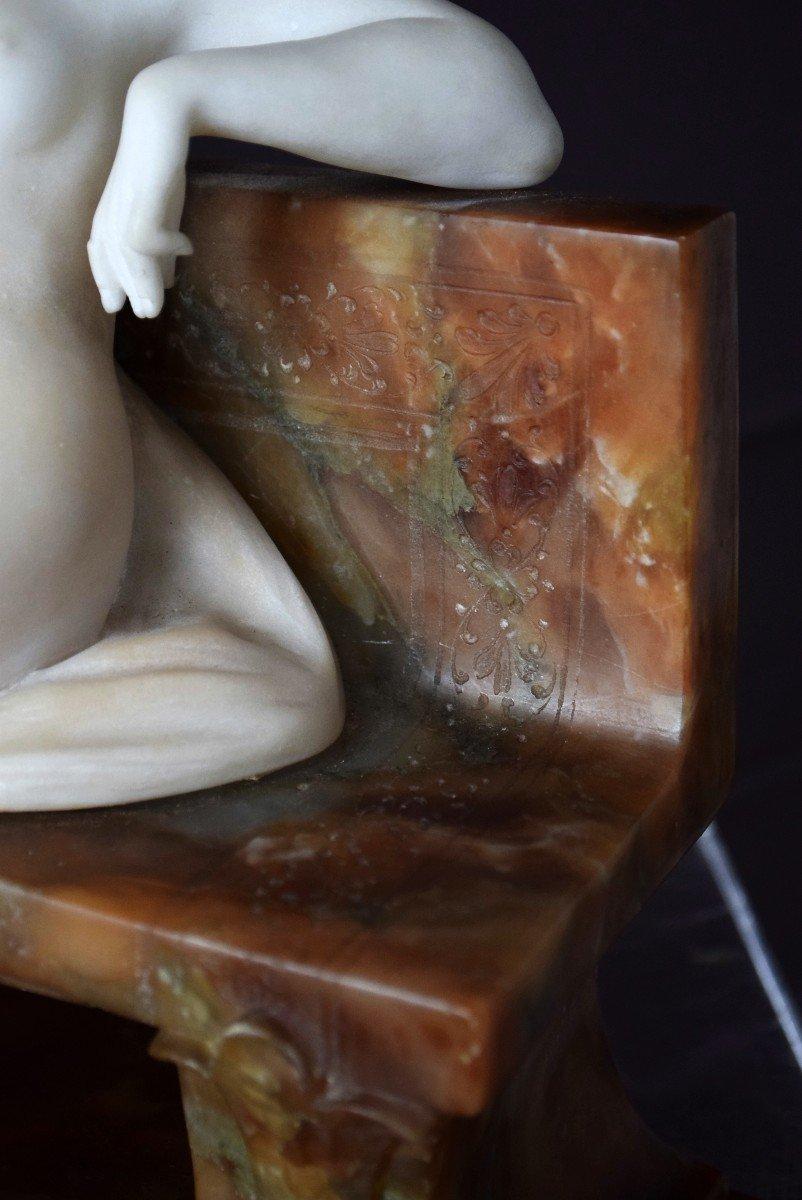 Nymph By Ferdinando Vichi Carrara Marble And Alabaster Italy-photo-7