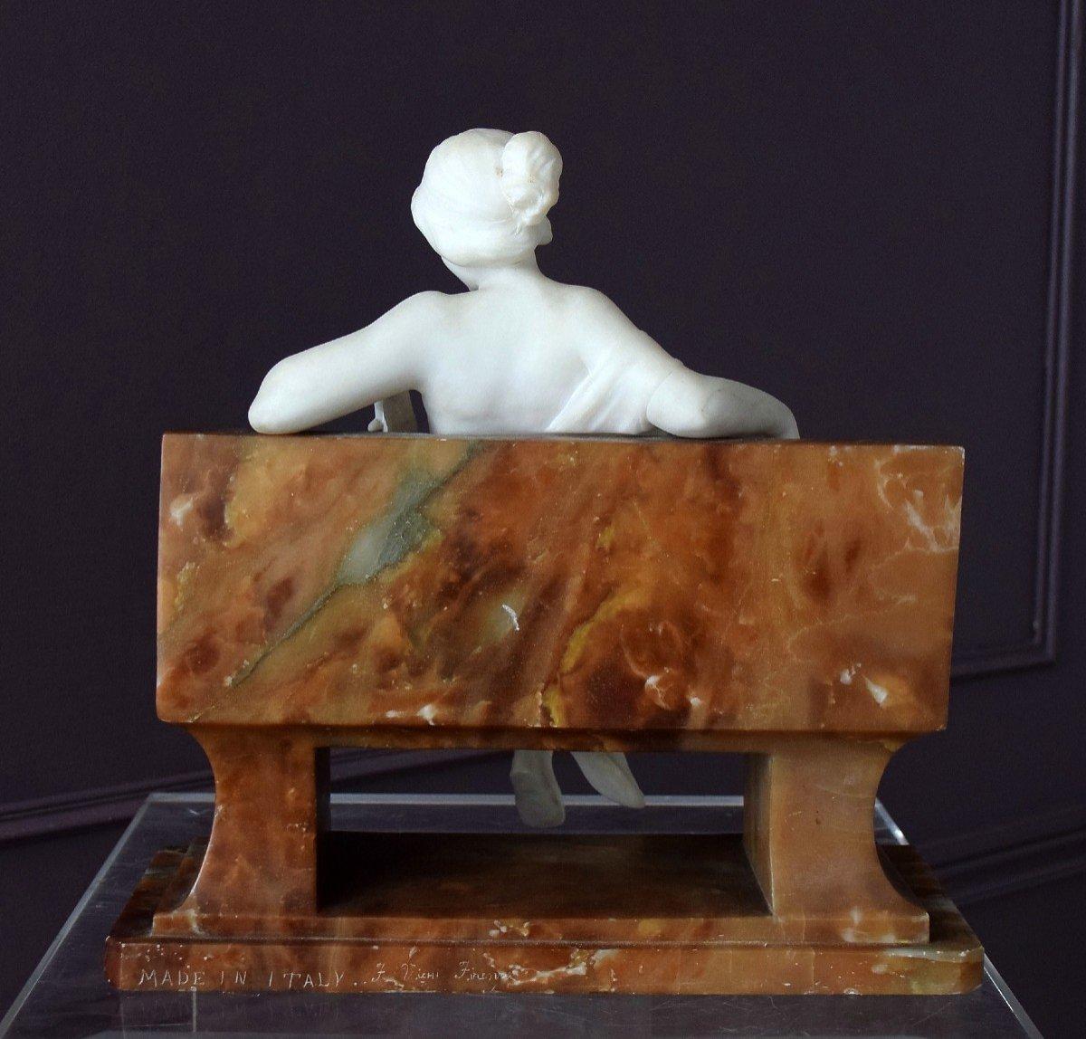 Nymph By Ferdinando Vichi Carrara Marble And Alabaster Italy-photo-8
