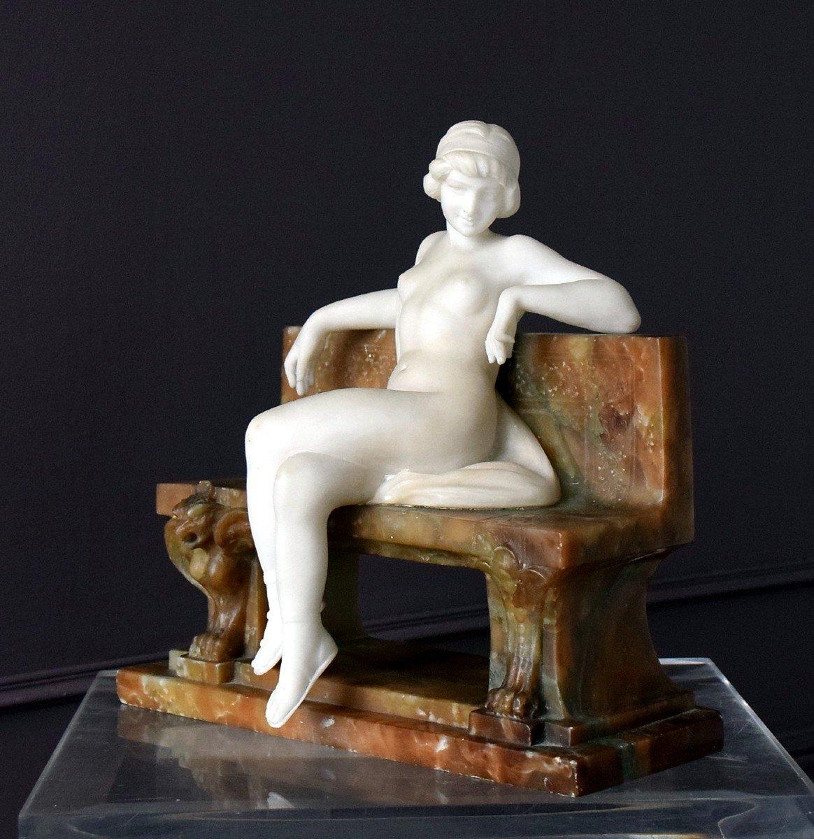 Nymph By Ferdinando Vichi Carrara Marble And Alabaster Italy