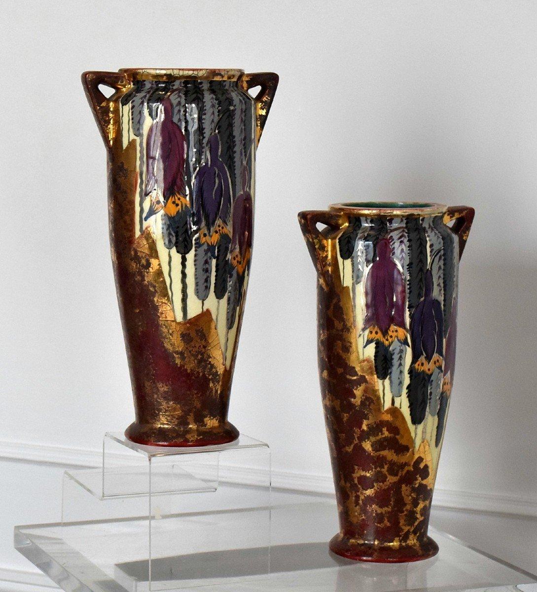 Pair Of Art Deco Vases By Louis Dage-photo-2