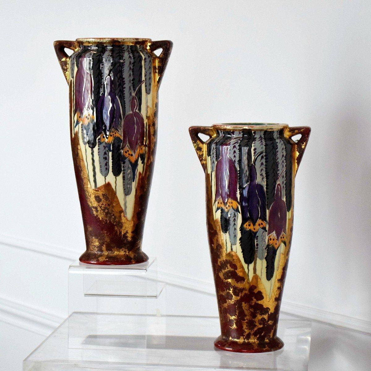 Pair Of Art Deco Vases By Louis Dage