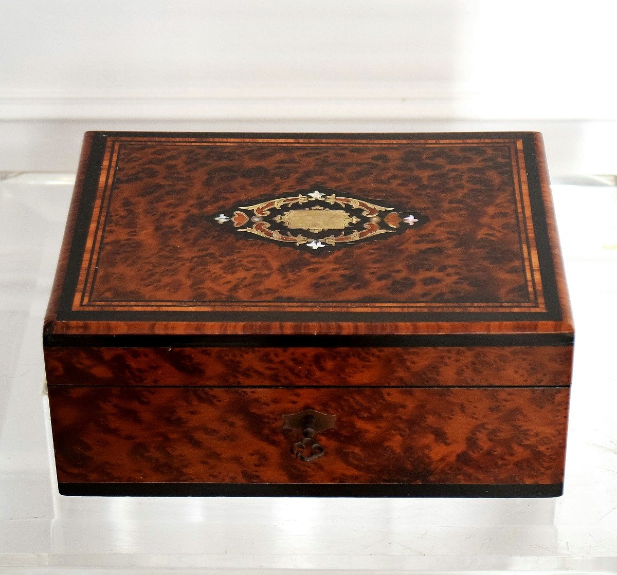 Thuja Burl Sewing Box Mother-of-pearl Marquetry Second Empire-photo-2