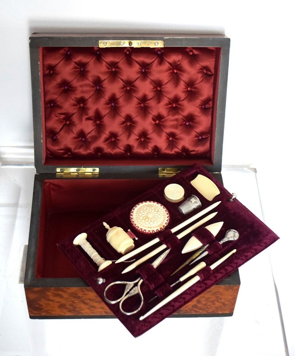 Thuja Burl Sewing Box Mother-of-pearl Marquetry Second Empire-photo-3