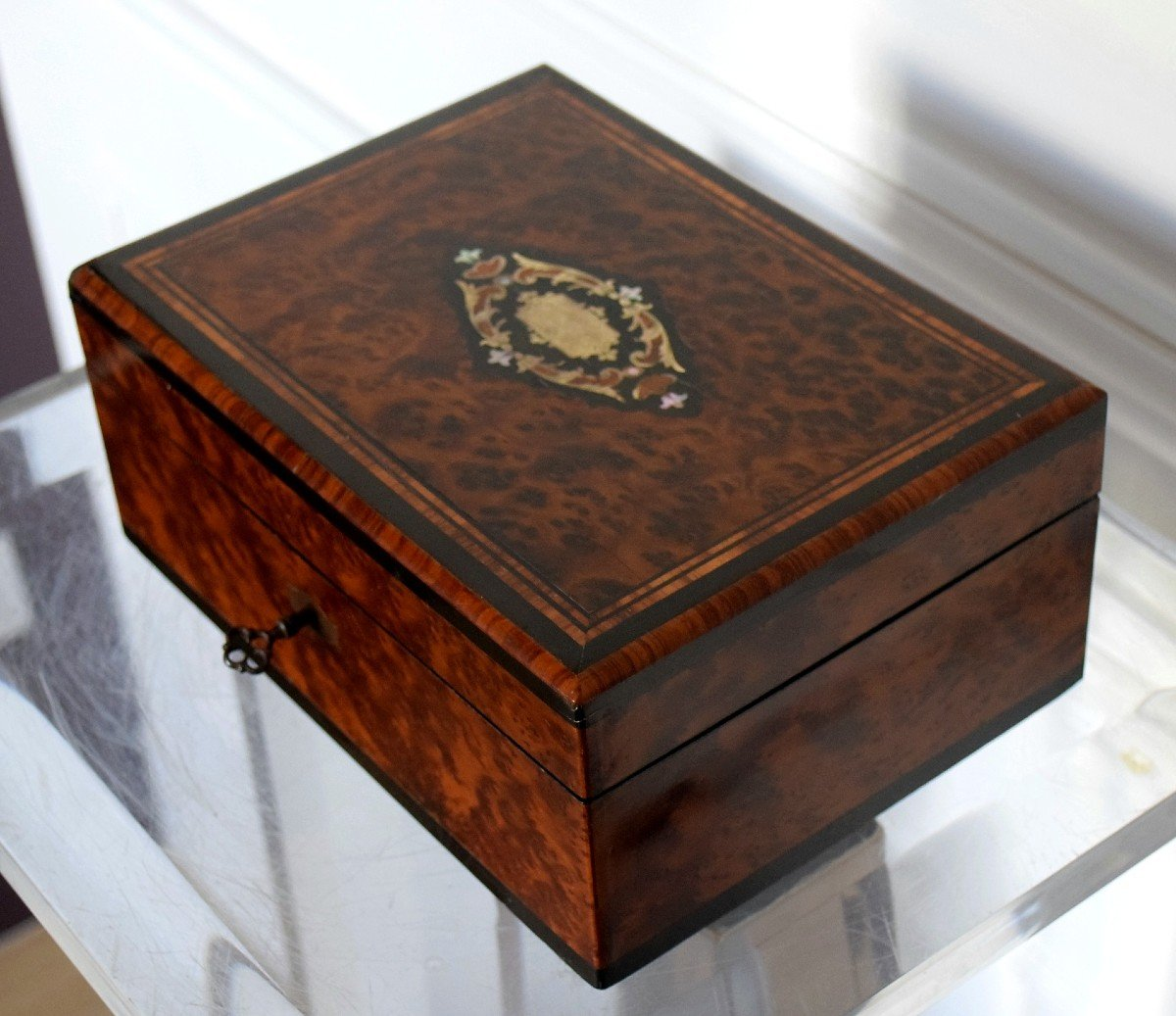 Thuja Burl Sewing Box Mother-of-pearl Marquetry Second Empire-photo-4