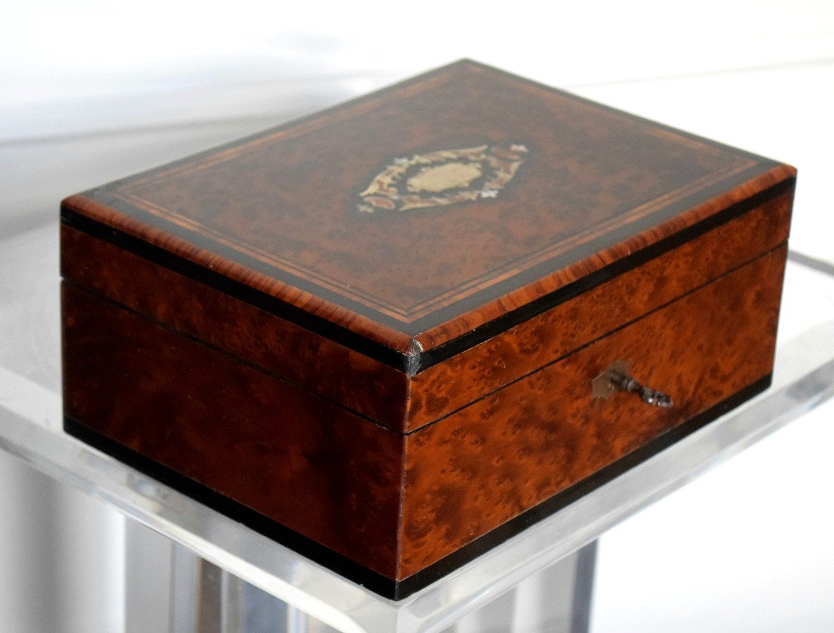Thuja Burl Sewing Box Mother-of-pearl Marquetry Second Empire-photo-5