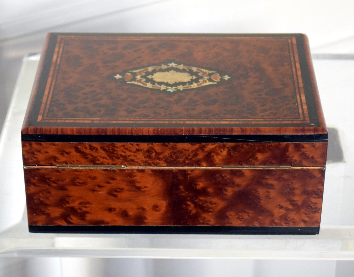 Thuja Burl Sewing Box Mother-of-pearl Marquetry Second Empire-photo-6