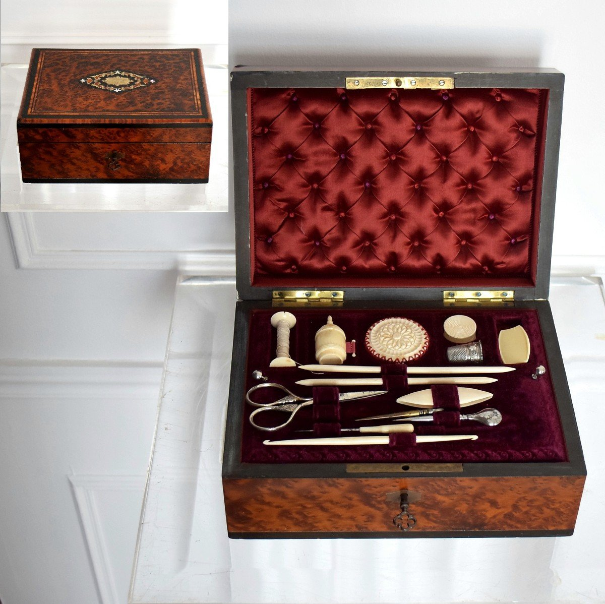 Thuja Burl Sewing Box Mother-of-pearl Marquetry Second Empire