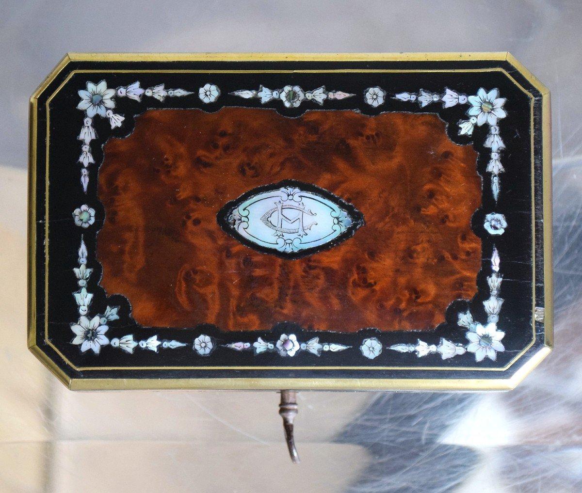 Petit coffret à bijoux Marqueterie Loupe de thuya Nacre -photo-3