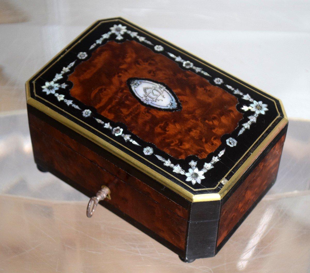 Petit coffret à bijoux Marqueterie Loupe de thuya Nacre -photo-4