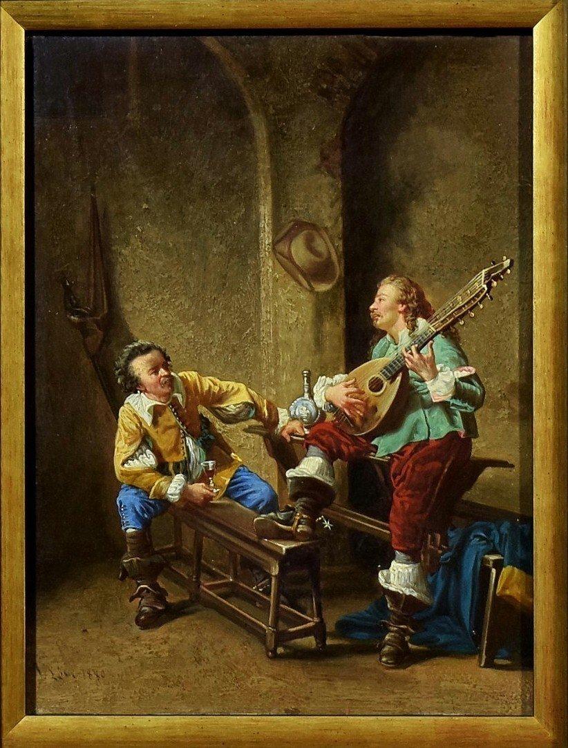 Mousquetaires à la taverne Signé et daté 1880-photo-2