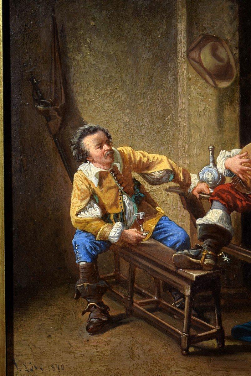 Mousquetaires à la taverne Signé et daté 1880-photo-1