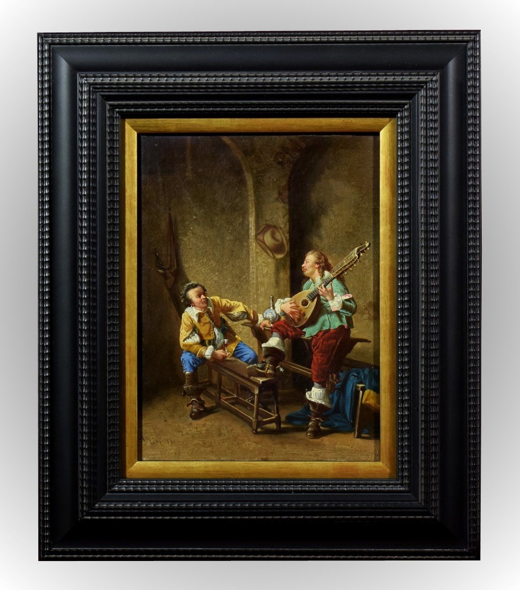 Mousquetaires à la taverne Signé et daté 1880
