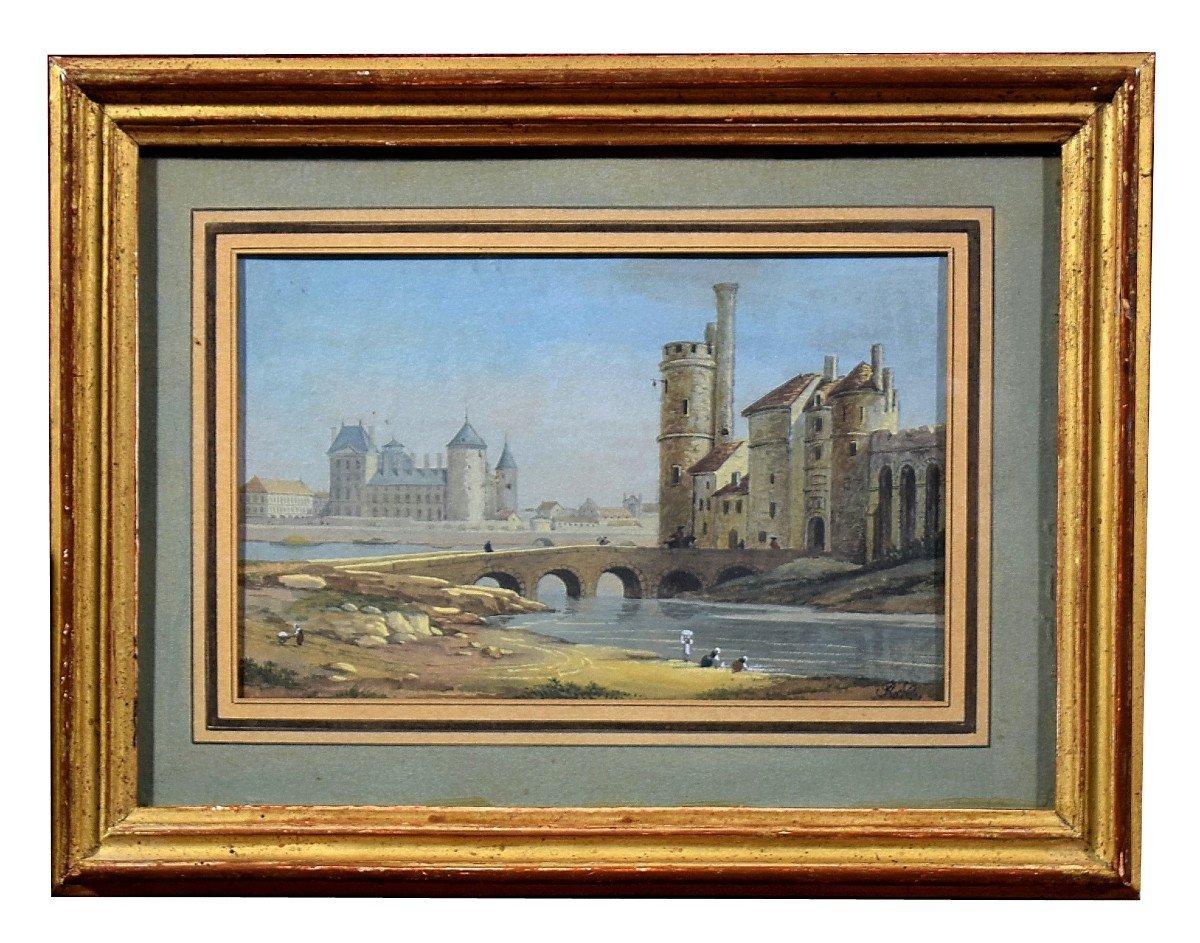 Paire de gouaches Paris Pont neuf Samaritaine Louvre Tour de Nesle XIXè-photo-3