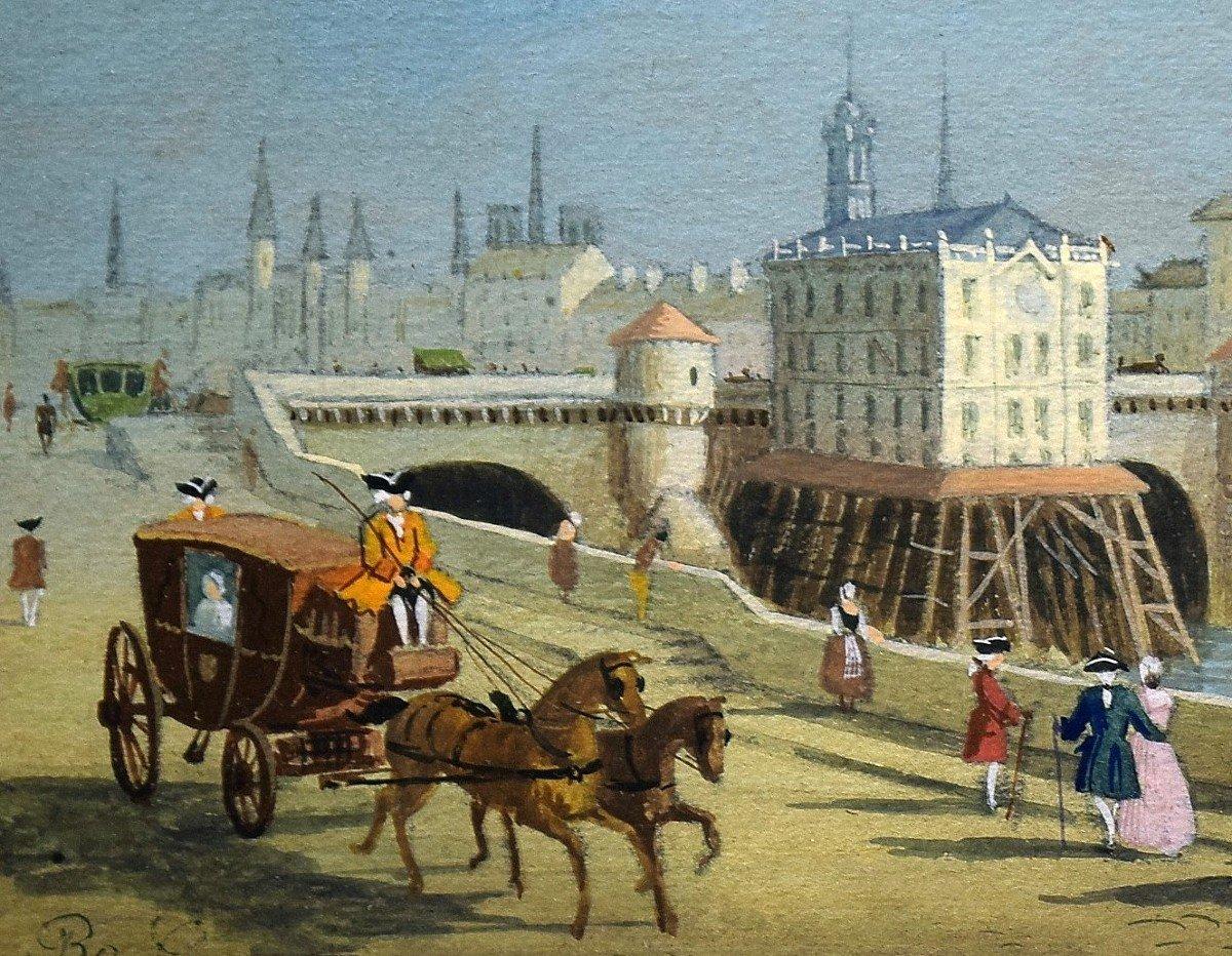 Paire de gouaches Paris Pont neuf Samaritaine Louvre Tour de Nesle XIXè-photo-2