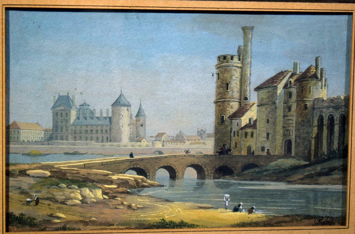 Paire de gouaches Paris Pont neuf Samaritaine Louvre Tour de Nesle XIXè-photo-5