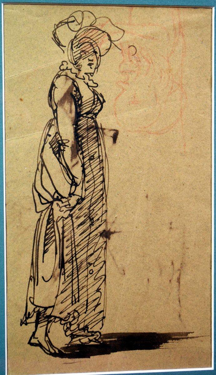 Dessin attribué à Clément-Auguste Andrieux Femme au chapeau -photo-2