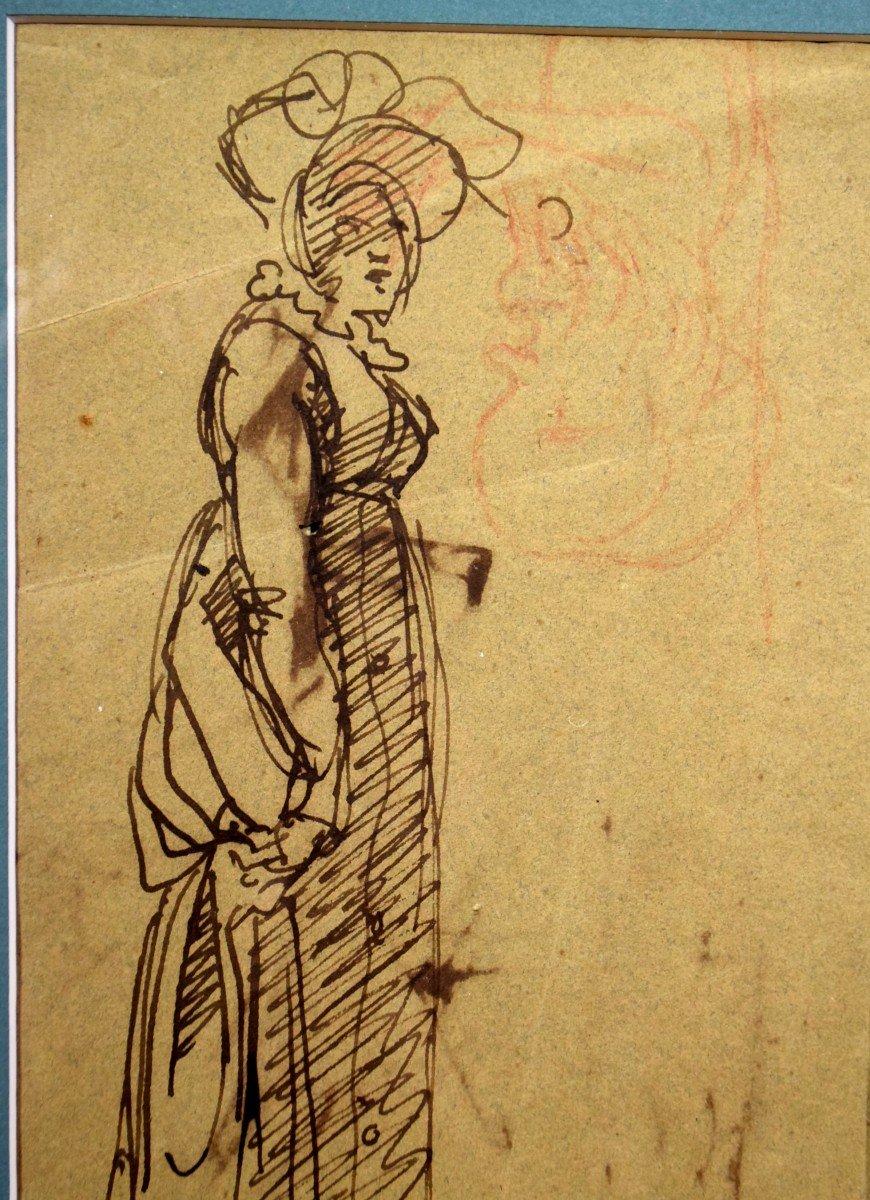 Dessin attribué à Clément-Auguste Andrieux Femme au chapeau -photo-3