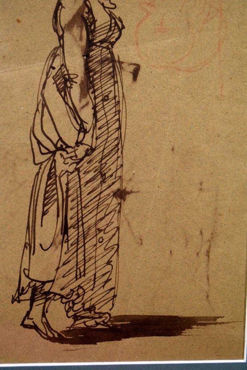Dessin attribué à Clément-Auguste Andrieux Femme au chapeau -photo-4