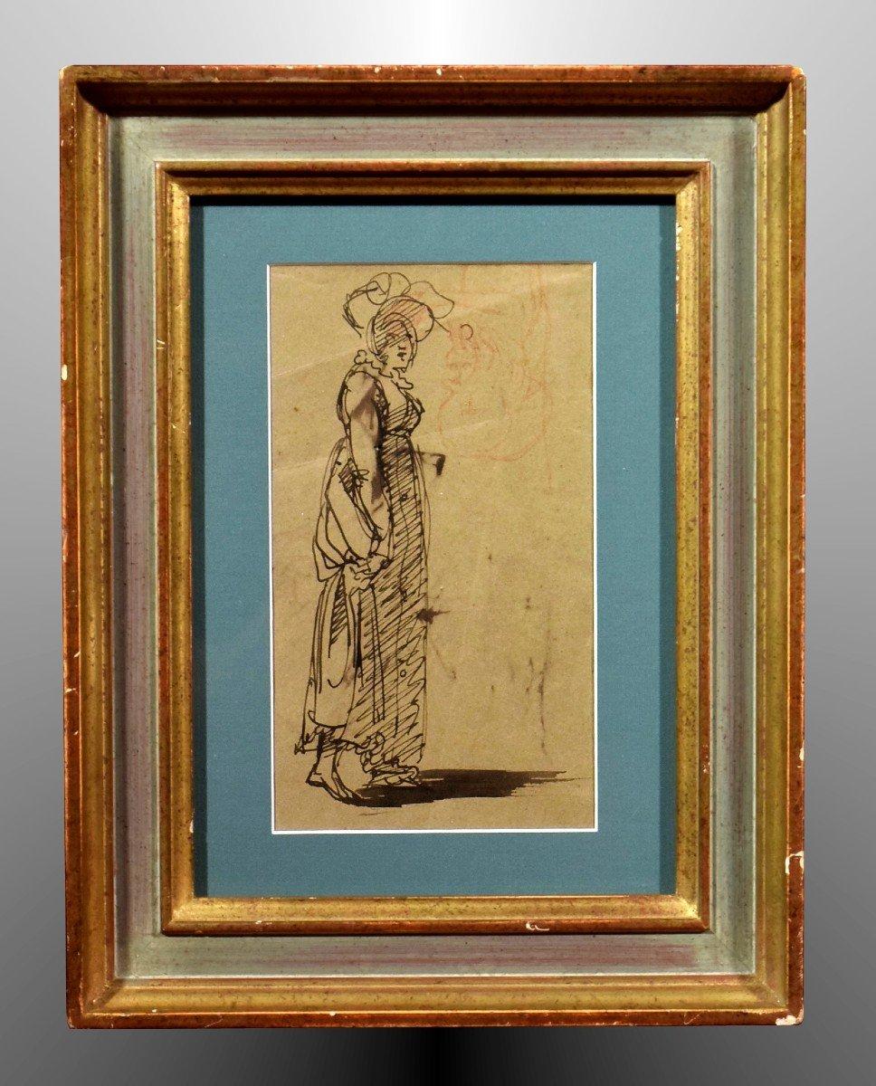 Dessin attribué à Clément-Auguste Andrieux Femme au chapeau