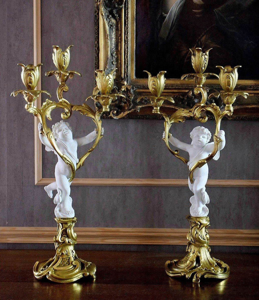 Paire de candélabres bronze et angelots en biscuit de Sèvres XIXème-photo-2