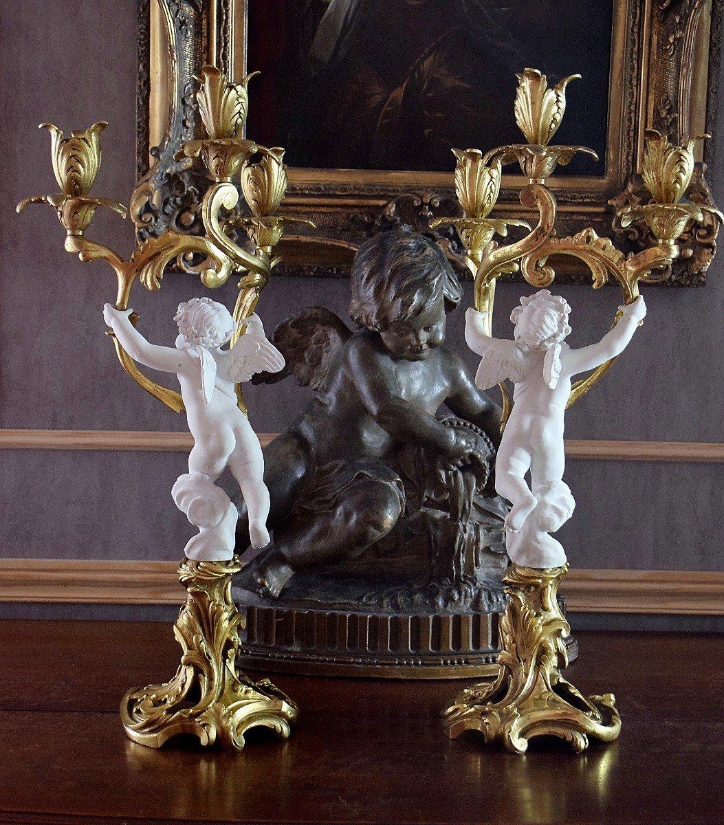 Paire de candélabres bronze et angelots en biscuit de Sèvres XIXème-photo-4