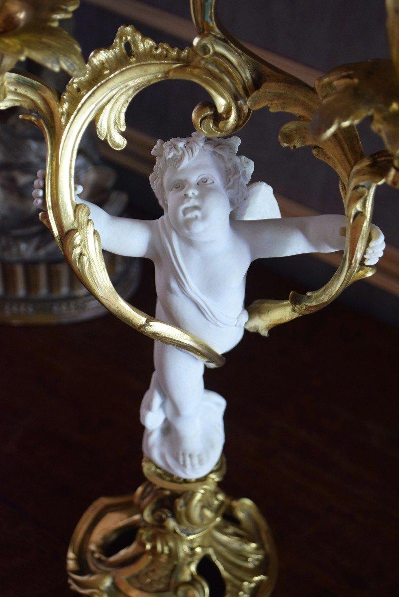 Paire de candélabres bronze et angelots en biscuit de Sèvres XIXème-photo-3