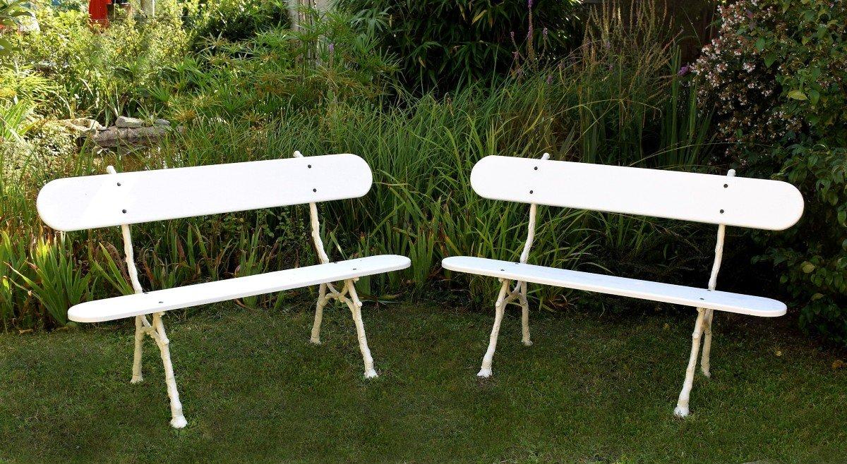 Paire de bancs de jardin en fonte et bois Longueur 139 cm-photo-2
