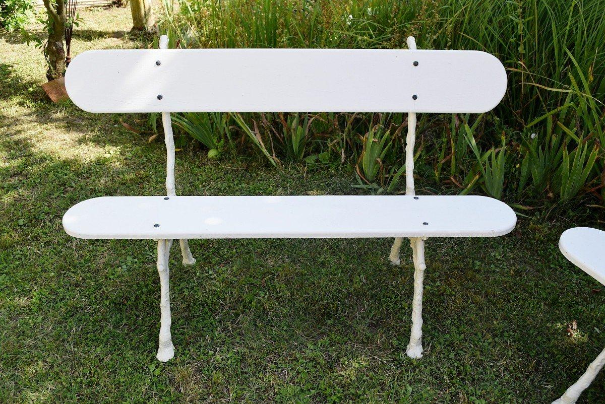Paire de bancs de jardin en fonte et bois Longueur 139 cm-photo-1
