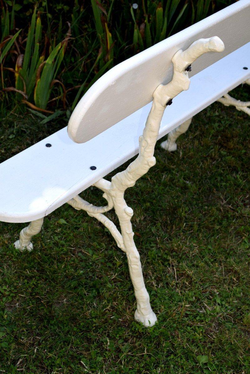 Paire de bancs de jardin en fonte et bois Longueur 139 cm-photo-4