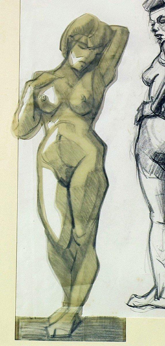 Dessin cubiste Atelier A. Lhote Académie de la Grande Chaumière Début XXème-photo-1