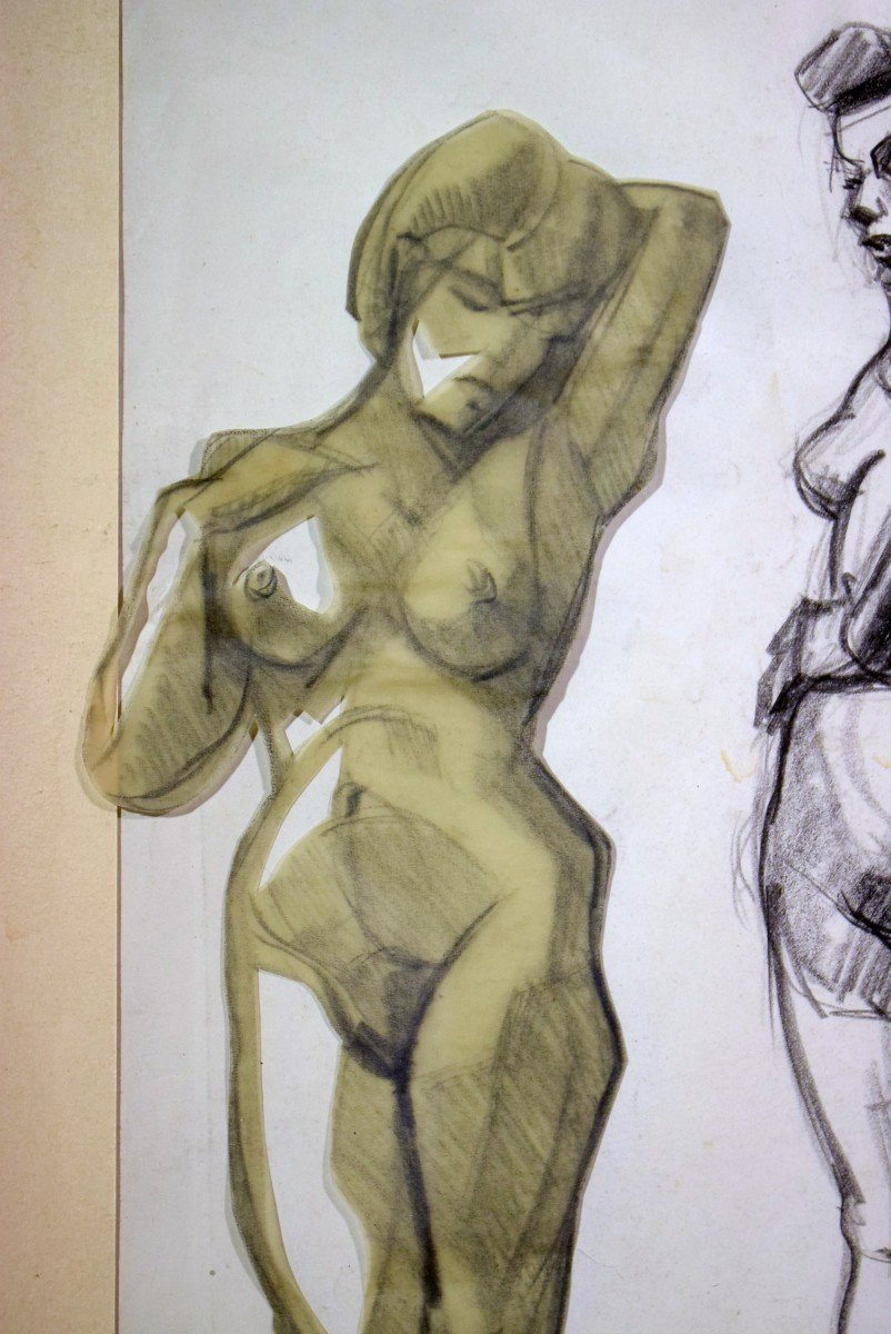 Dessin cubiste Atelier A. Lhote Académie de la Grande Chaumière Début XXème-photo-4