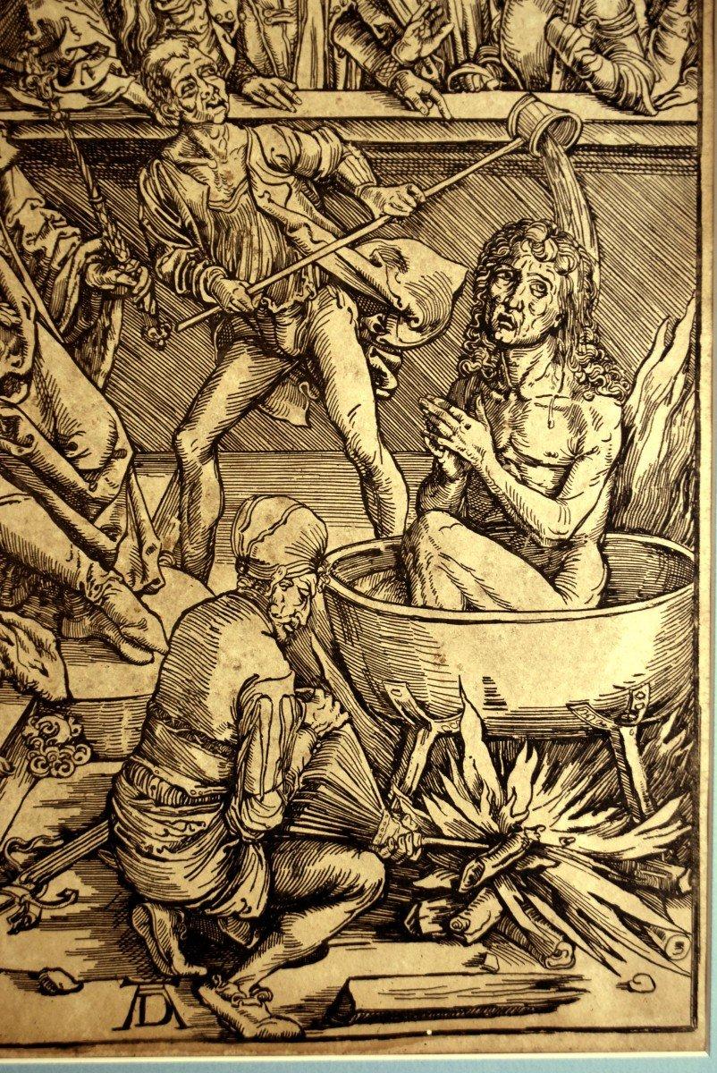 La torture de Saint Jean l'Evangéliste Gravure d'après Albrecht Dürer XIXè-photo-1