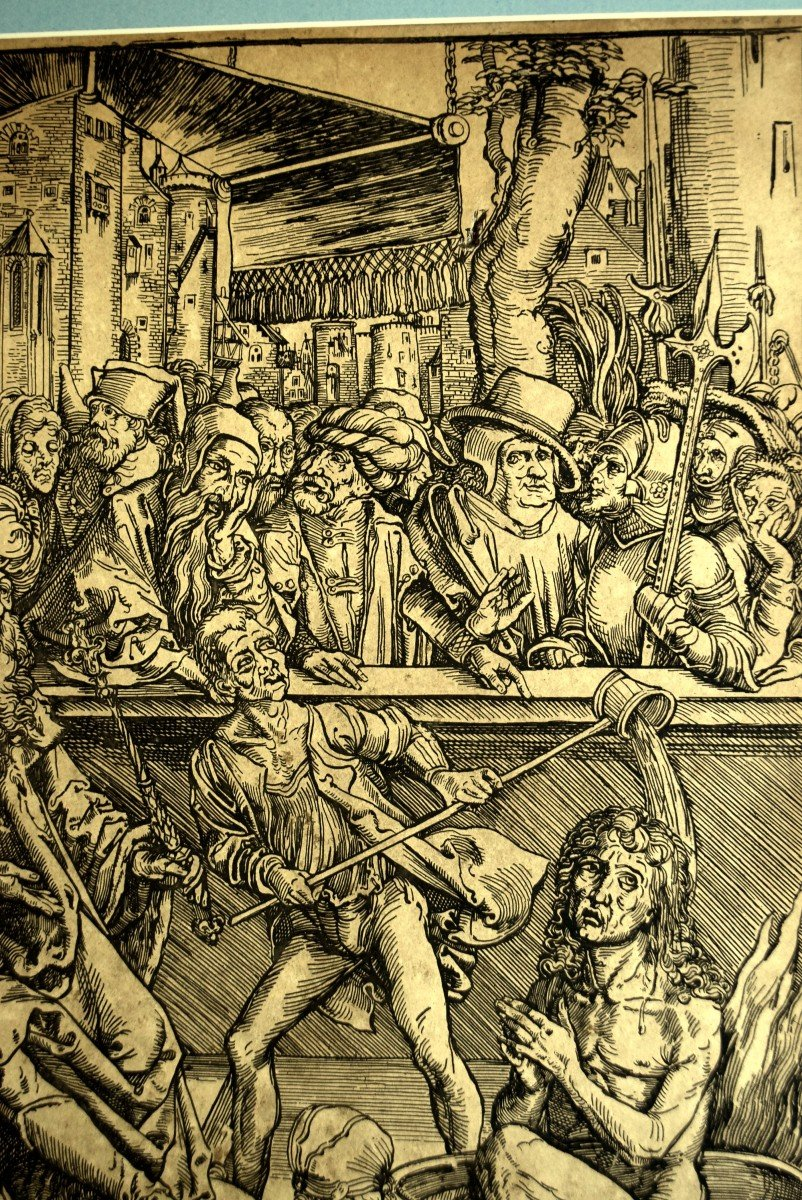 La torture de Saint Jean l'Evangéliste Gravure d'après Albrecht Dürer XIXè-photo-3