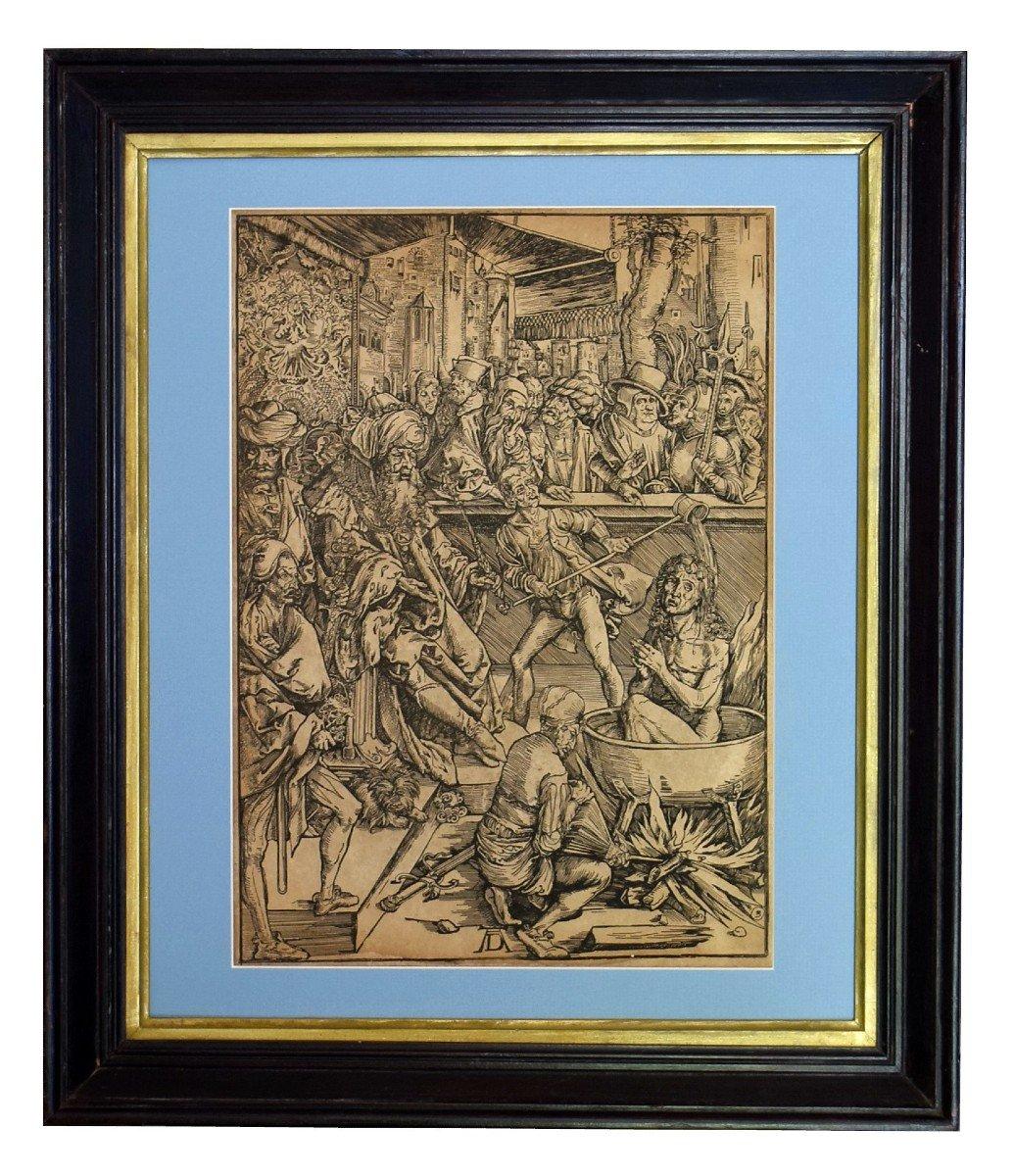 La torture de Saint Jean l'Evangéliste Gravure d'après Albrecht Dürer XIXè