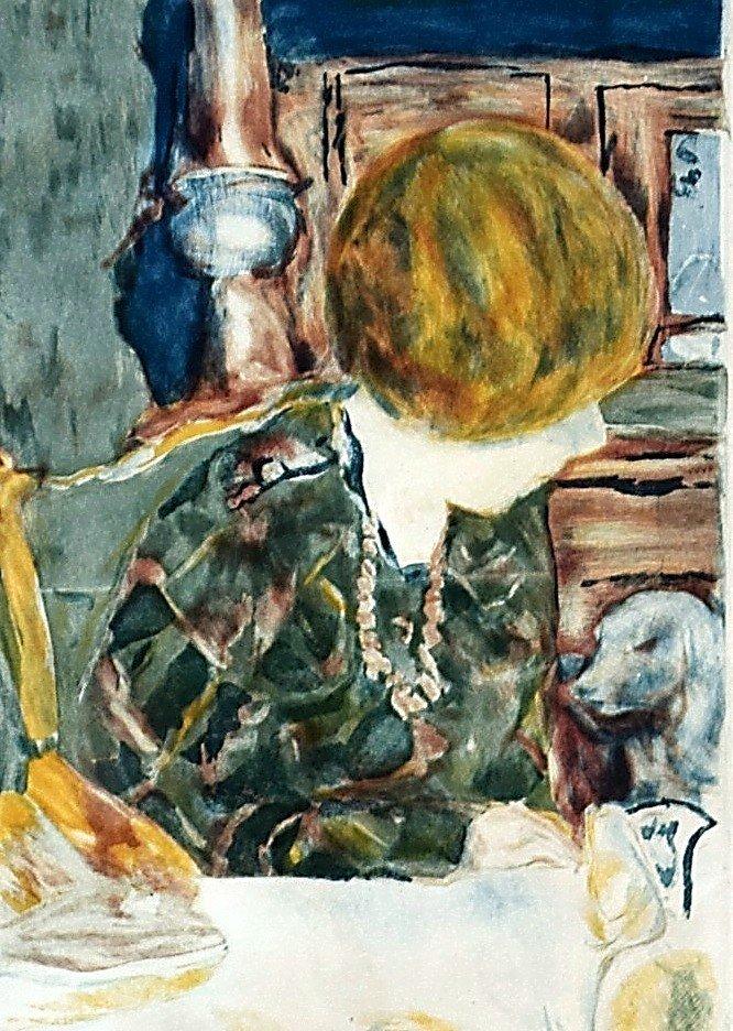 Pierre Bonnard Aquatinte par Jacques Villon La femme au chien-photo-1