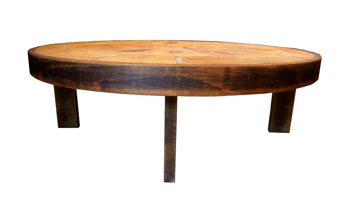 Table basse ovale signée Roger Capron -photo-3