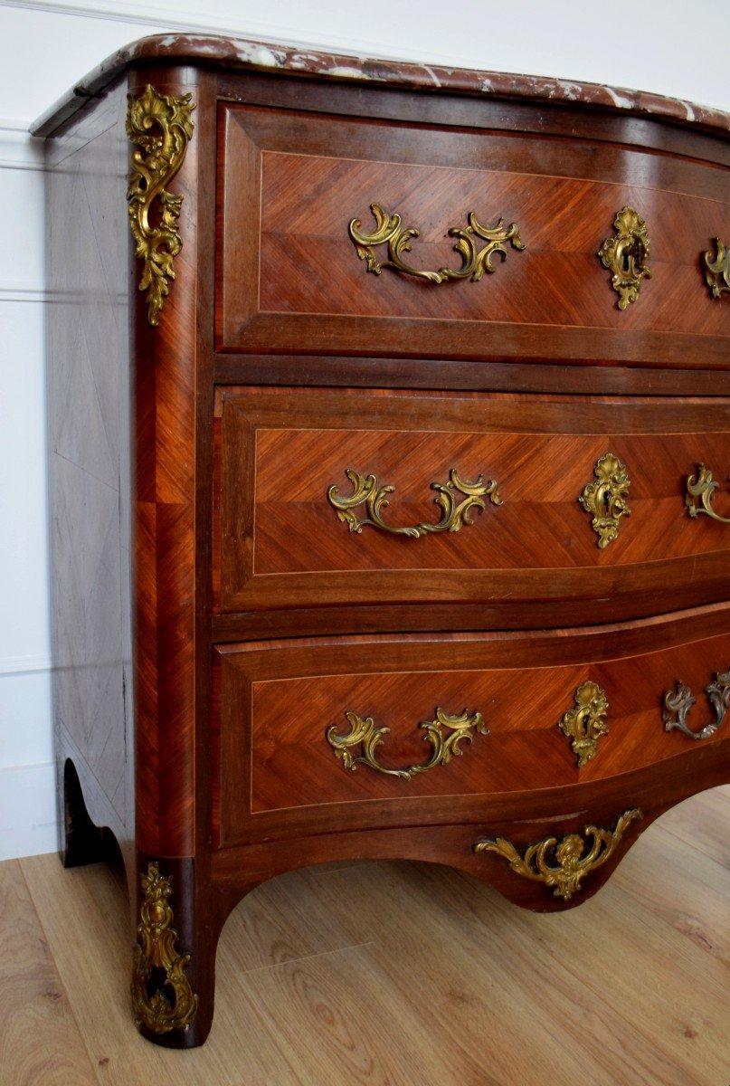 Commode de style Régence en marqueterie XIXème-photo-1