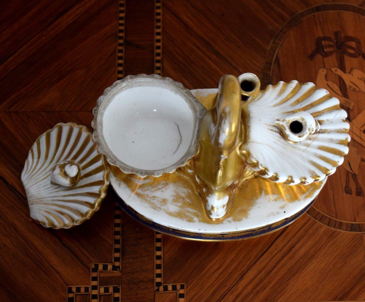 Encrier au dauphin Porcelaine de Paris Epoque Charles X-photo-4